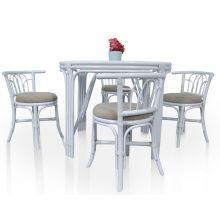 Белый стол со стульями