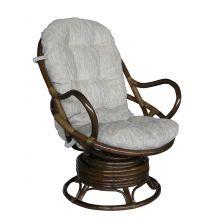 Кресло качалка вращающееся из ротанга