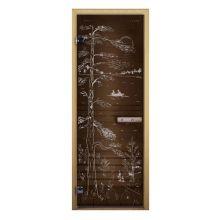 Дверь для бани стеклянная LK ДС бронза рис. тайга