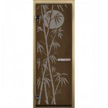 Дверь для бани стеклянная LK ДС бронза рис. бамбук