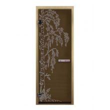 Дверь для бани стеклянная LK ДС бронза рис. берёзка
