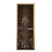Дверь для бани стеклянная LK ДС бронза рис. лагуна