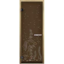 Дверь для бани стеклянная LK ДС бронза рис. рыбка