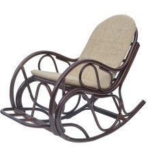 Кресло качалка из ротанга с подножкой - кофе