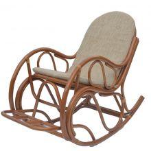 Кресло качалка с подножкой из ротанга - коньяк
