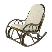 Кресло качалка из ротанга с подножкой - олива