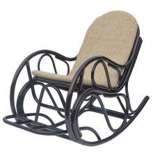 Кресло качалка с подножкой из ротанга - шоколад