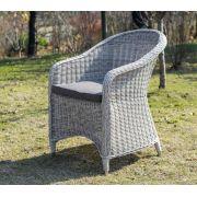 Кресло Равенна белое из искусственного ротанга