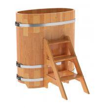 Купель для бани и сауны Bentwood овальная из сращенных ламелей лиственницы (0,59Х1,06 H=1,2)