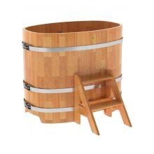 Купель для бани и сауны Bentwood овальная из сращенных ламелей лиственницы (0,76Х1,16 H=1,0)
