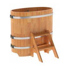 Купель для бани и сауны Bentwood овальная из сращенных ламелей лиственницы (0,59Х1,06 H=1,0)