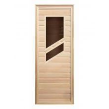 Дверь для бани/сауны LK липа с 2-мя косыми стеклами 1900x700