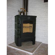 Печь-камин EcoKamin Бавария изразец с чугунной плитой, зеленая Барокко
