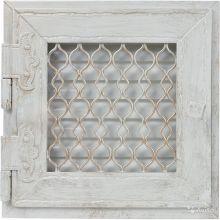 Решетка Kratki ретро белая с открывающейся дверкой 22x22