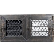 Решетка Kratki ретро графит с двумя дверками 17x17
