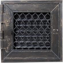 Решетка Kratki ретро графит с открывающейся дверкой 22x22