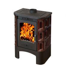 Печь-камин EcoKamin Бавария изразец с чугунной плитой, коричневая Арка